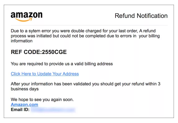 phishing example of Amazon email notice requiring action to receive refund