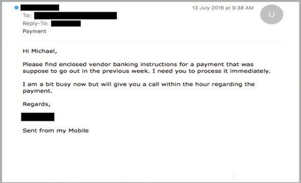 phishing example of impersonating a manager giving bank wiring instructions