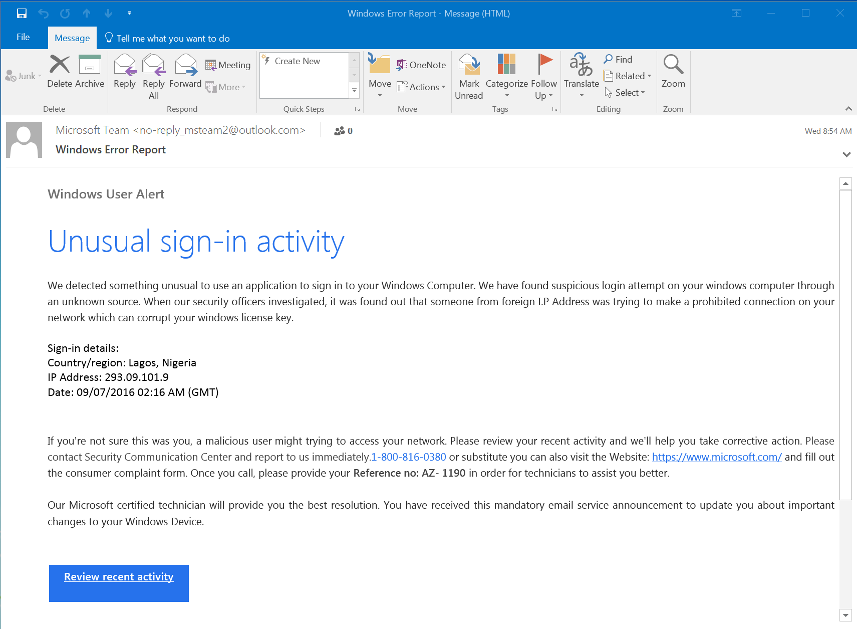phishing example of email from Microsoft tech support